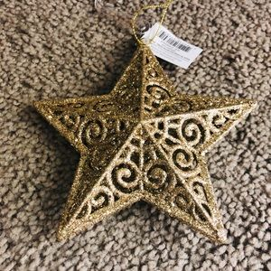 Other - NWT Gold Glitter Star Christmas Ornament